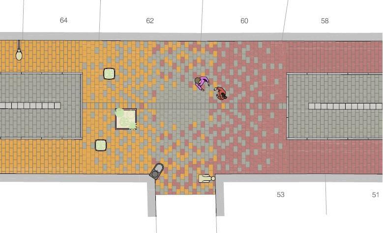 Imatge de la transició de colors del paviment del c. Ricomà
