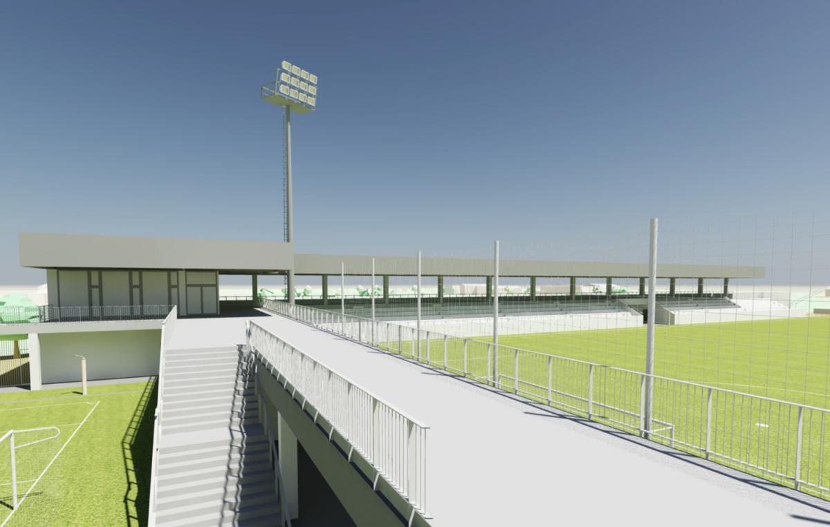 Imatge virtual de com serà el camp de futbol a Palou