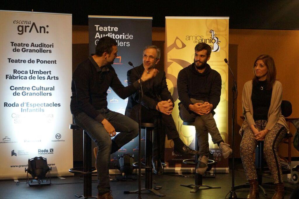 La presentació de l'espectacle es va fer ahir al Teatre Auditori. D'esquerra a dreta: Josep Vila, l'alcalde Mayoral, Vicenç Viaplana i la regidora de Cultura, Mireia López