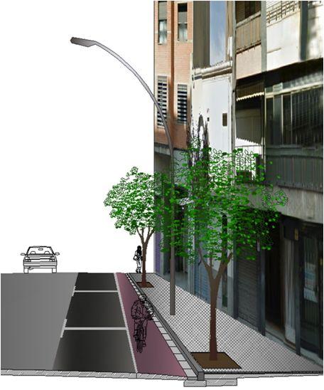 Secció d'un tram del c. Girona amb la incorporació del carril bicicleta